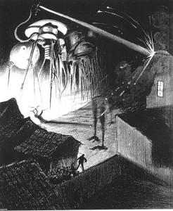"""Ilustração do brasileiro Henrique Alvim Corrêa para a edição belga de """"A Guerra dos Mundos"""", de 1909"""