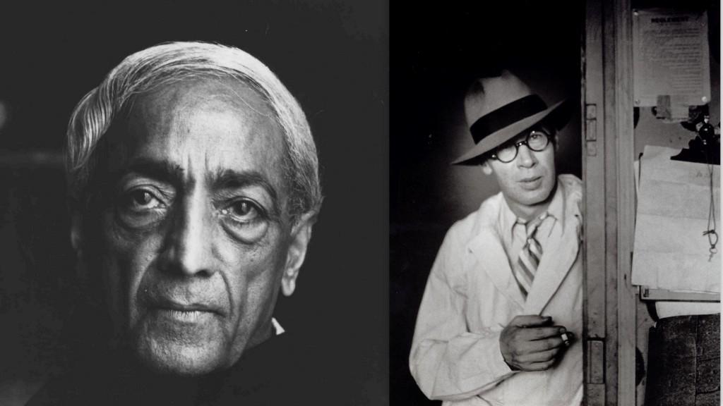 Henry Miller (à direita) identificou-se com a filosofia de Krishnamurti (à esquerda)