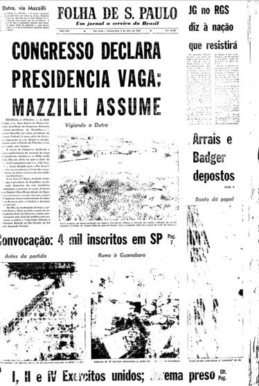 Capa do jornal Folha de São Paulo de 2 de abril de 1964