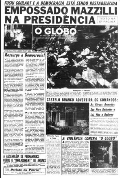 capa do globo golpe militar