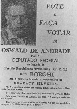 Oswald de Andrade candidato a deputado federal