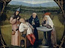 """A extração da pedra da loucura"""" (data provável: entre 1475 e 1480), quadro do holandês Hieronymus Bosch; a inscrição do quadro é """"Mestre, extrai-me a pedra, meu nome é Lubber Das"""", Lubber Das era um personagem tolo da literatura da época"""