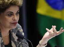 A ex-presidenta Dilma Rousseff fala no Senado no dia de seu impeachment