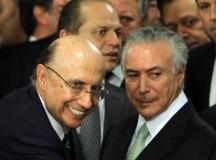 O ministro da fazenda Henrique Meirelles e Michel Temer