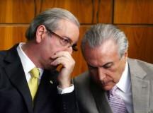 O ex-presidente da Câmara Eduardo Cunha, preso, e o presidente Michel Temer