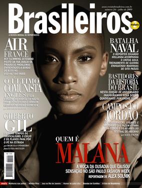 Capa da revista Brasileiros com a modelo  modelo Vanessa de Freitas Jorge