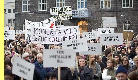 Protesto na Islândia em 2009